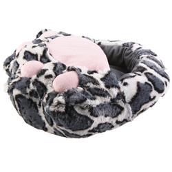 SAMs Damen Fußwärmer Hausschuhe Katze, Grau