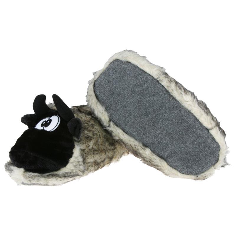 Tierhausschuhe Herren Hausschuhe Kuh, Grau Braun