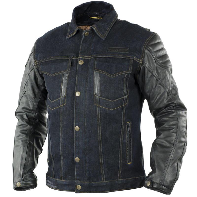 Trilobite Herren Jeans/Leder Motorradjacke Symphis Rocker, Blau