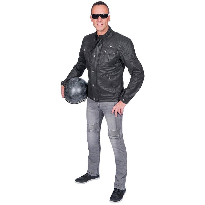 Germot Herren Motorradjacke Rider Wachsblouson, Schwarz