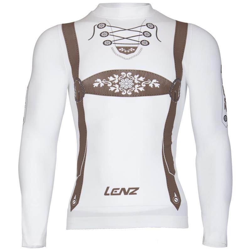 Lenz Herren Longsleeve Ski Shirt Hansi, Weiß Braun