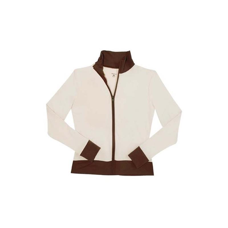 Shebeest Damen Fitnessjacke Doublewear-Zip, Weiß Braun