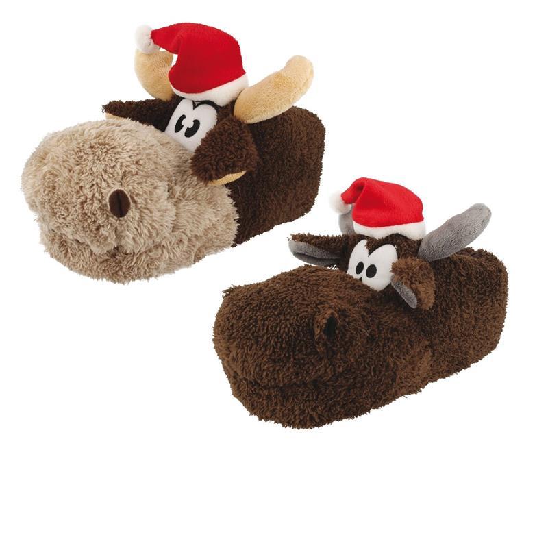 Tierhausschuhe Damen Hausschuhe Weihnachten Rentier Weihnachtsmütze, Braun