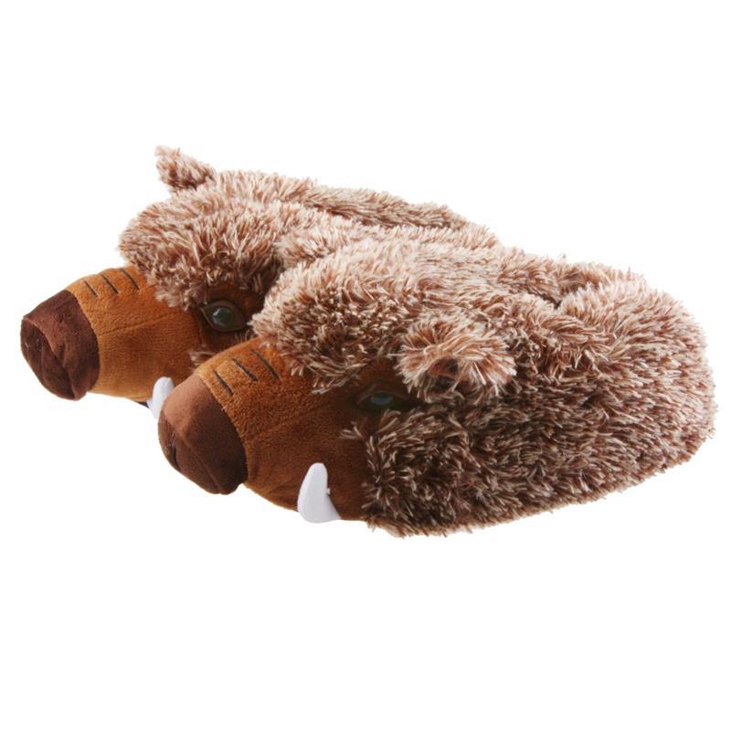 Tierhausschuhe Herren Hausschuhe Wildschwein, Braun