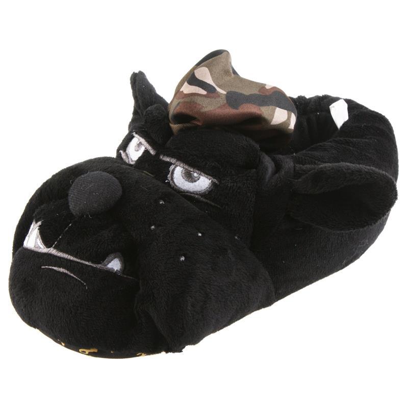 Tierhausschuhe Herren Hausschuhe Hund Army, Schwarz