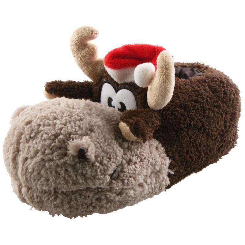 Tierhausschuhe Hausschuhe Weihnachten Rentier Weihnachtsmütze, Braun