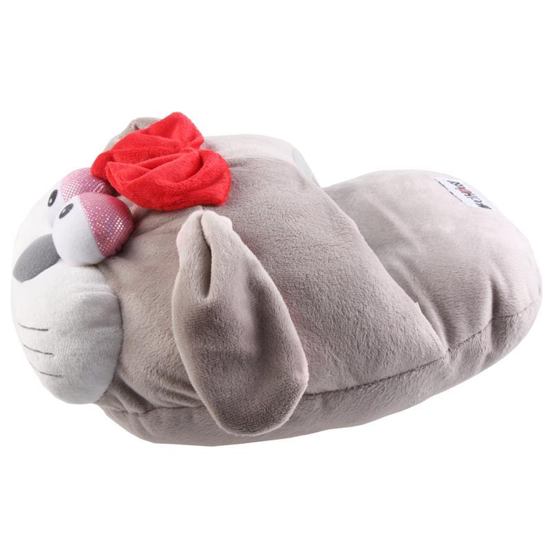 SAMs Damen Fußwärmer Hausschuhe Katze, Hellgrau