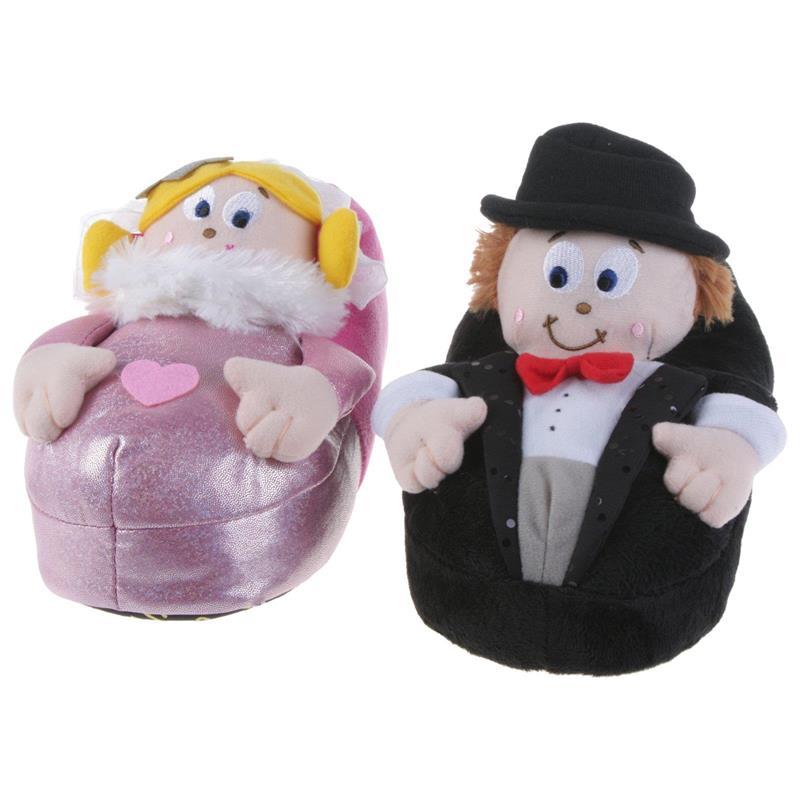 Tierhausschuhe Unisex Hausschuhe Brautpaar Hochzeit, Schwarz Pink