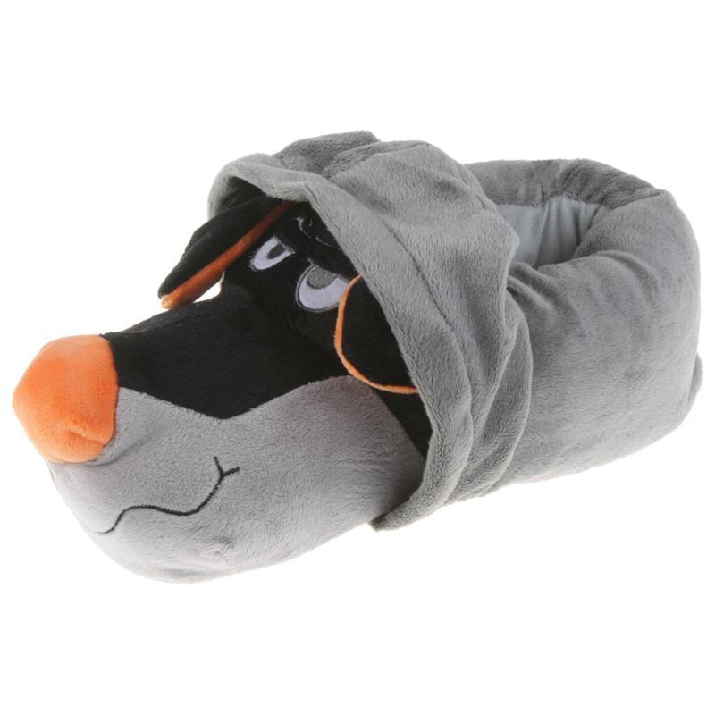 Tierhausschuhe Unisex Hausschuhe Hoodie Hund, Grau Orange