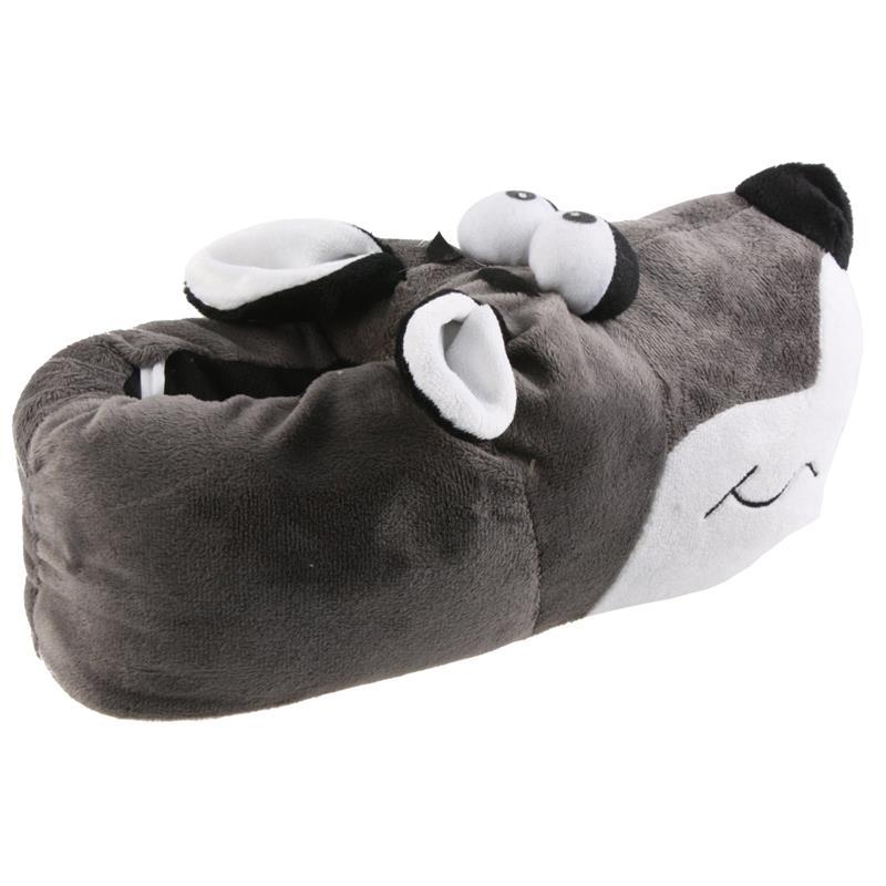 Tierhausschuhe Hausschuhe Bulldogge Kullerauge, Grau