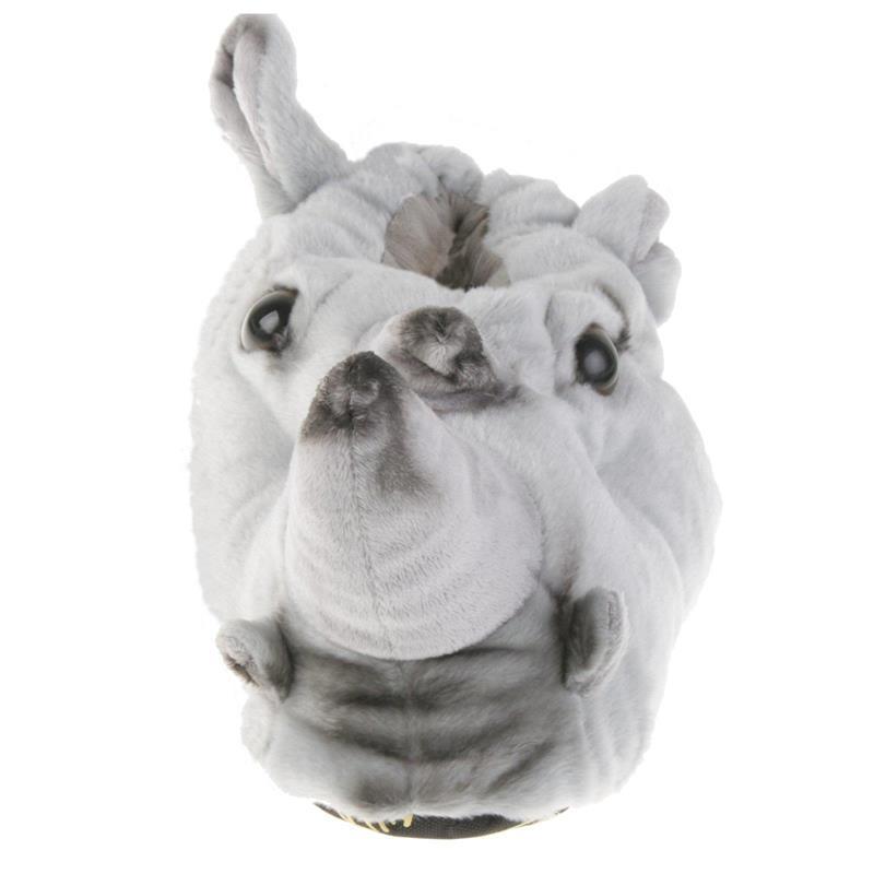 Tierhausschuhe Herren Hausschuhe Nashorn, Grau