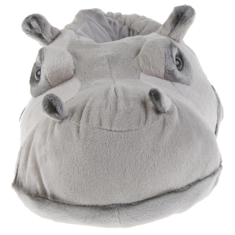 Tierhausschuhe Unisex Hausschuhe Flusspferd, Grau