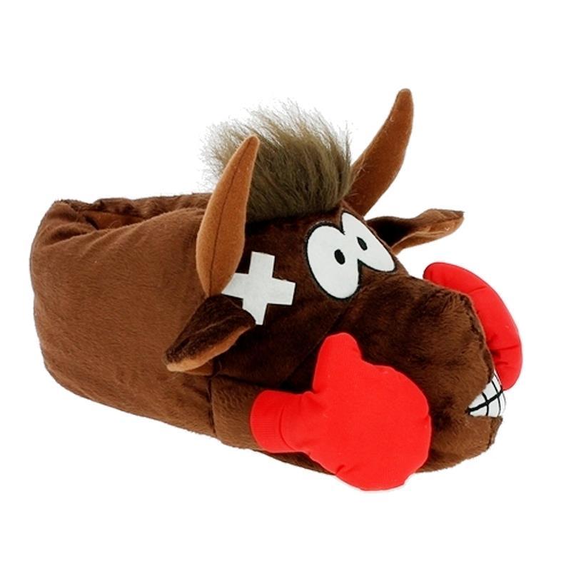 Tierhausschuhe Hausschuhe Stier Boxer, Braun