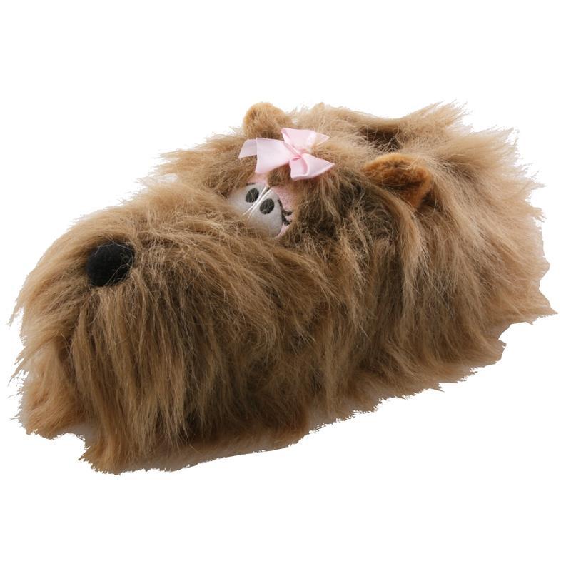 Tierhausschuhe Damen Hausschuhe Yorkshire Terrier Hund, Braun