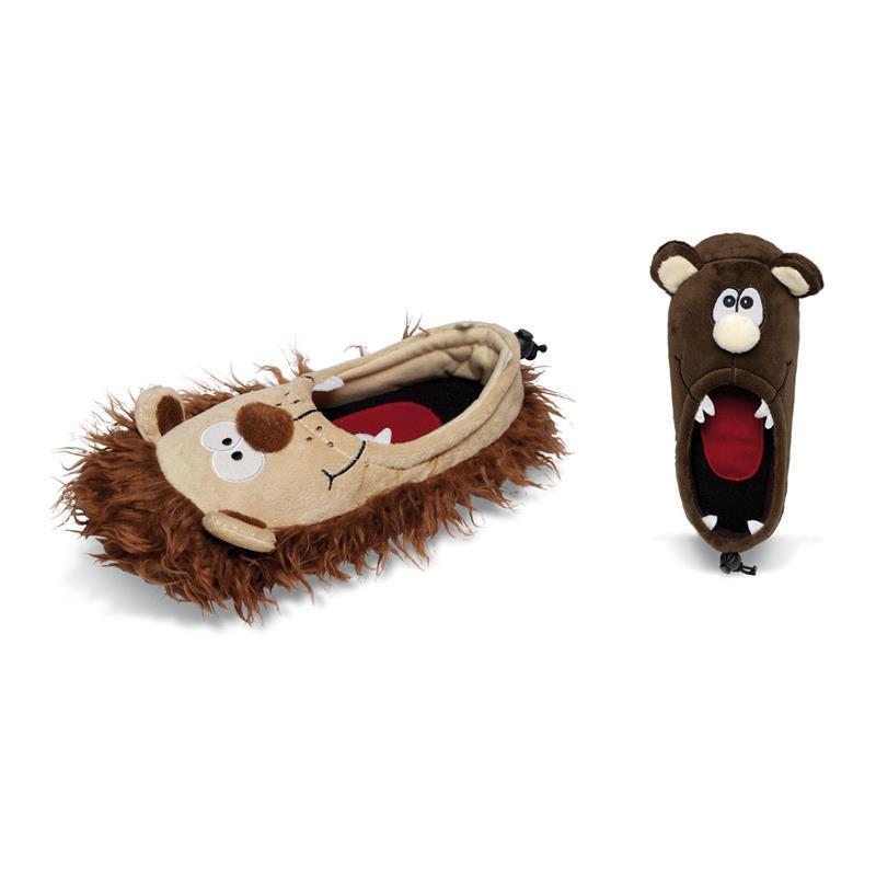Tierhausschuhe Herren Hausschuhe Monster Schlappen, Braun