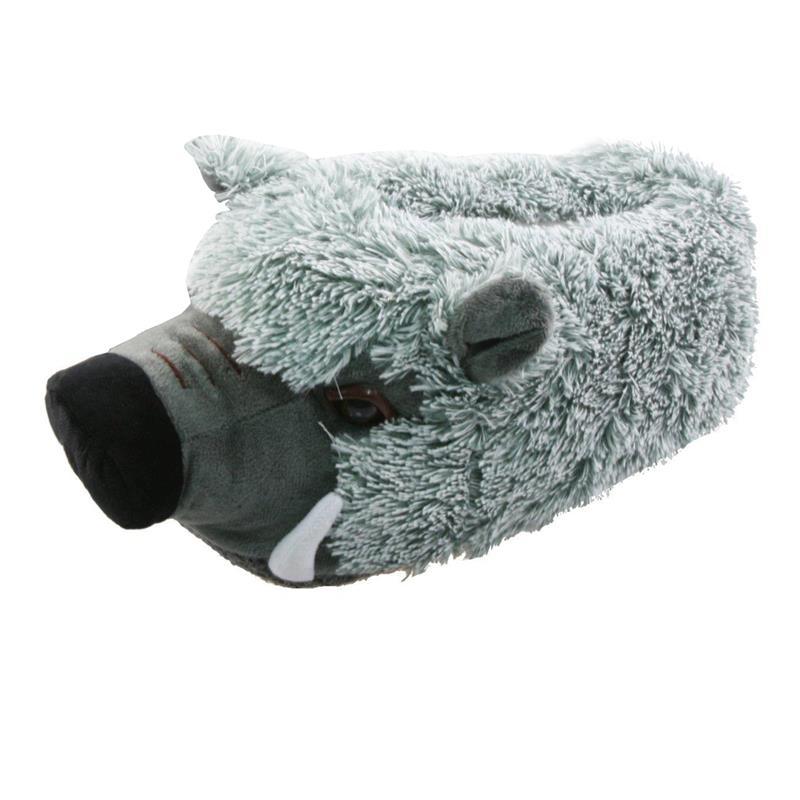Tierhausschuhe Herren Hausschuhe Wildschwein, Grau