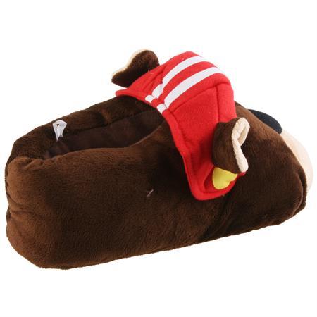 Bulldogge Football Hund Tier Hausschuhe Pantoffel SchlappenKuscheltier PlüschHerren Braun 41-46 Pic:1