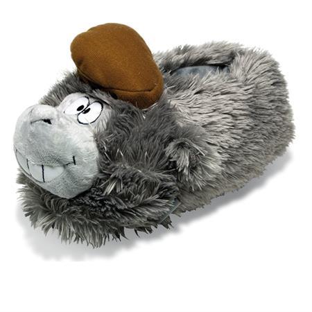 Verrückter Gorilla Tier Hausschuhe Pantoffel Schlappen Kuscheltiere Plüsch Kinder Grau 36-44