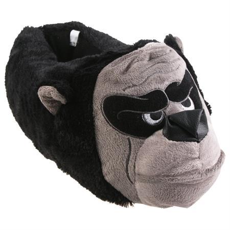 Tierhausschuhe Herren Hausschuhe Gorilla, Schwarz