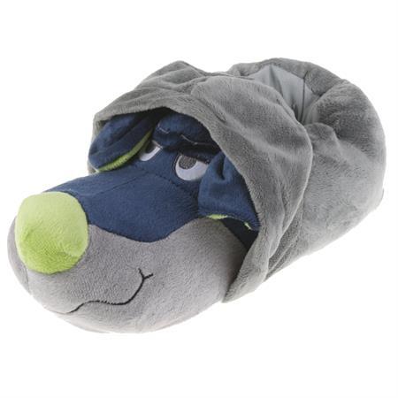 Tierhausschuhe Unisex Hausschuhe Hoodie Hund, Grau Blau