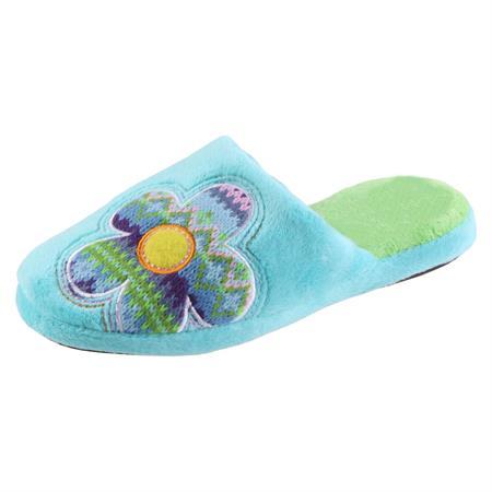 Iliade Flower Hausschuhe Pantoffel Schlappen Slipper Kuscheltier Plüsch Damen Türkis 35-40