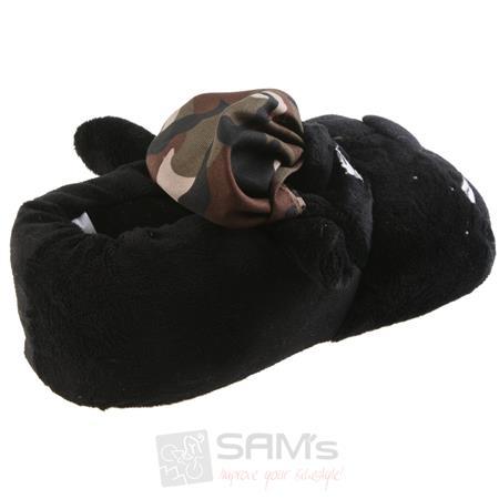 Tierhausschuhe Herren Hausschuhe Hund Army, Schwarz Pic:1