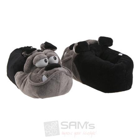 SAMs Unisex Tierhausschuhe Bulldogge, Schwarz Grau Pic:1