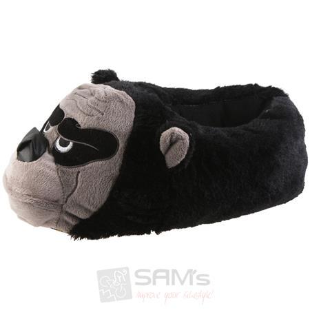 Tierhausschuhe Herren Hausschuhe Gorilla, Schwarz Pic:2