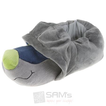 Tierhausschuhe Unisex Hausschuhe Hoodie Hund, Grau Blau Pic:1