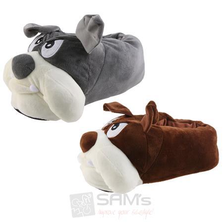 Details zu Hund Bulldogge Tier Hausschuhe Pantoffel Puschen Schlappen Plüsch Herren 41 46