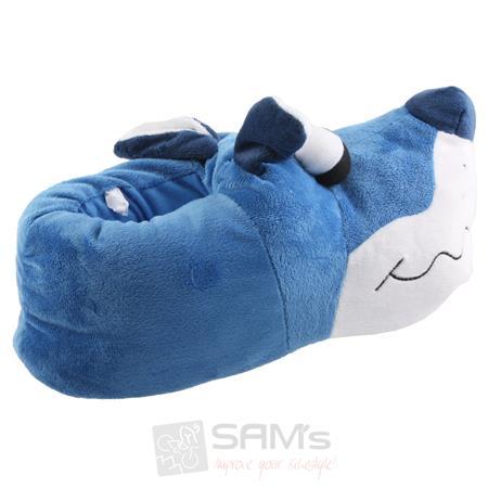 Tierhausschuhe Herren Hausschuhe Bulldogge Kullerauge, Blau Pic:1