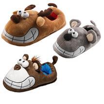Grinse Maus Affe Elch Tier Hausschuhe Pantoffel Schlappen Kuscheltier Plüsch Damen Herren 41-47