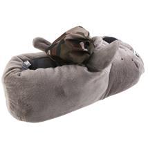 Bulldogge Army Hund Tier Hausschuhe Pantoffel Schlappen Kuschltier Plüsch Herren Grau 35-48 Pic:1