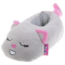 Katze Tier Hausschuhe Pantoffel Puschen Schlappen Kuscheltier Plüsch Damen Kinder Grau 29-35