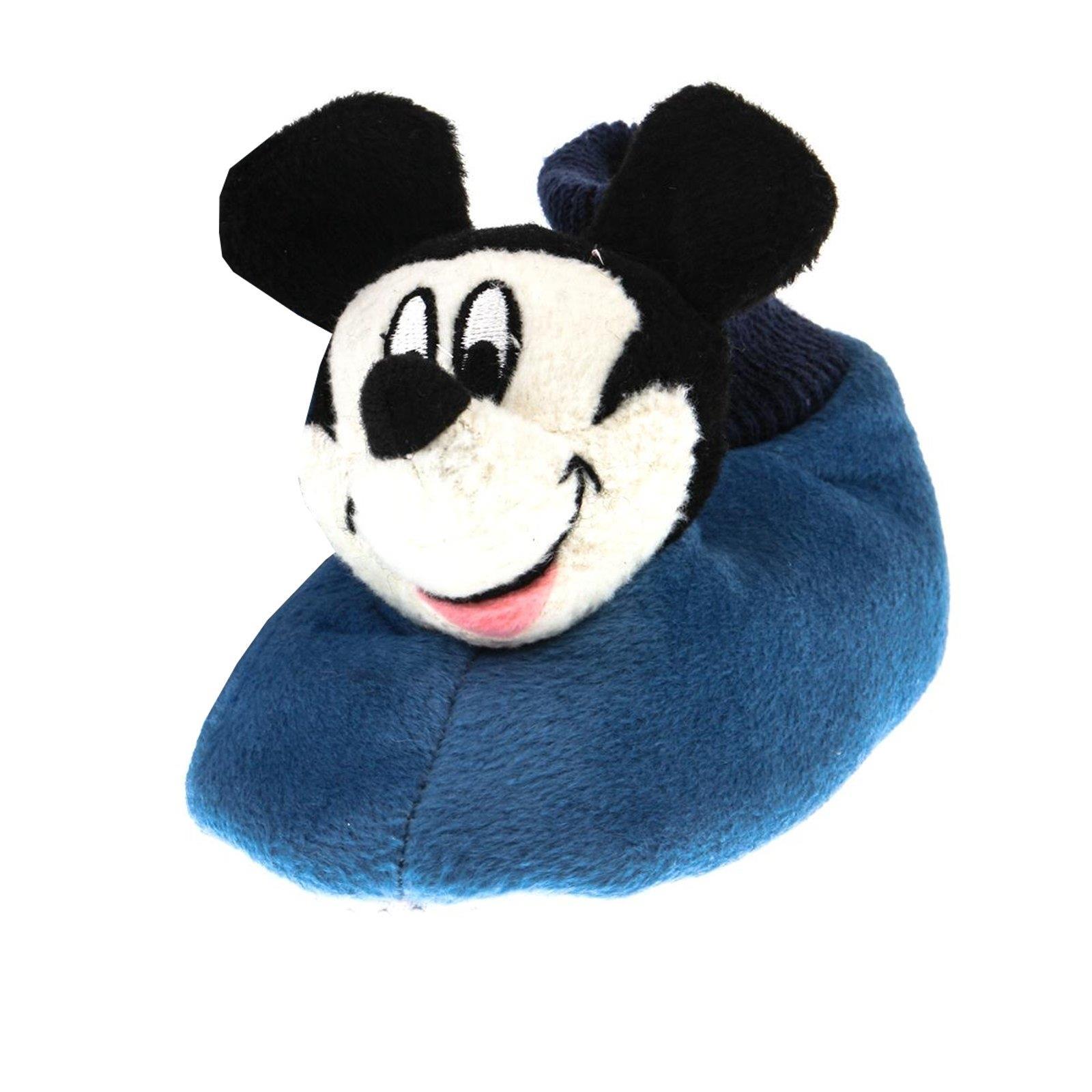 DISNEY Micky Maus Tier Hausschuhe Pantoffel Schlappen Plüsch Kinder Blau 25-33