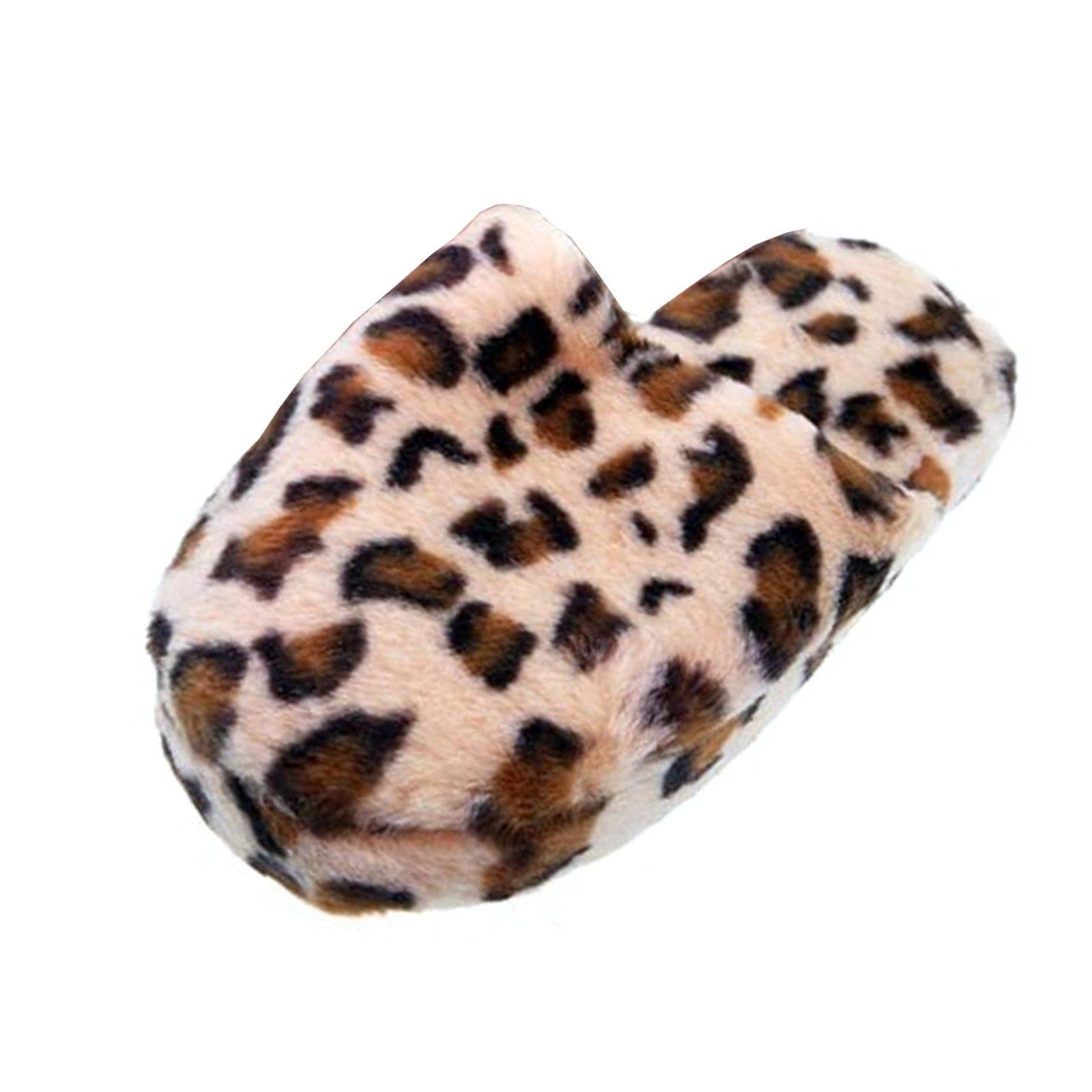 Leopard Tier Hausschuhe Pantoffel Schlappen Slipper Plüsch Damen Beige 36-41