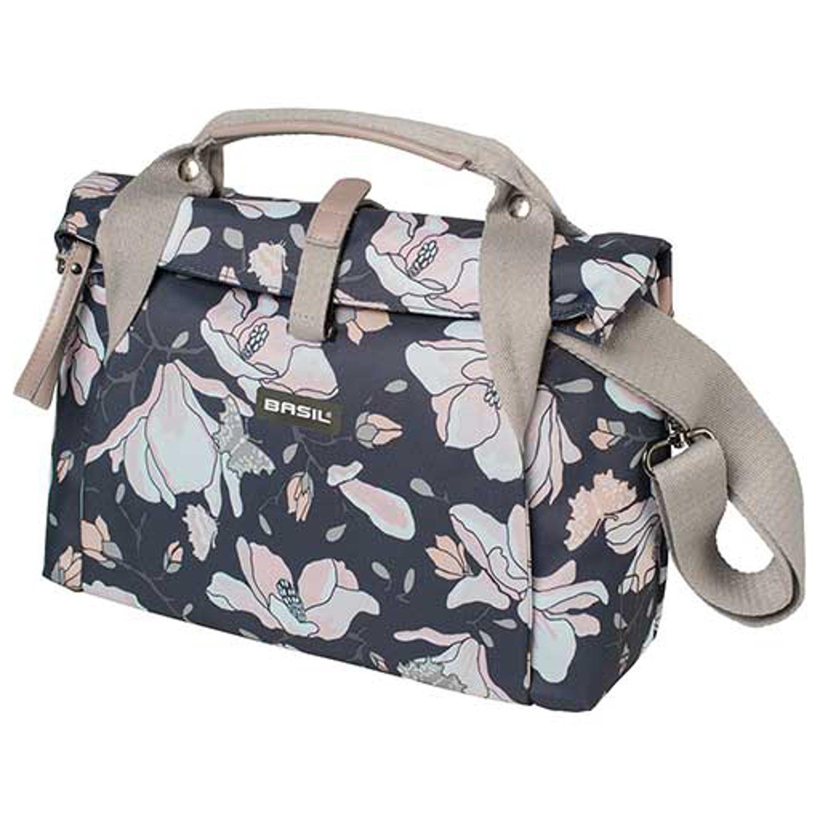 basil tasche city bag doppel packtasche fahrrad shopper carry magnolia blumen ebay. Black Bedroom Furniture Sets. Home Design Ideas