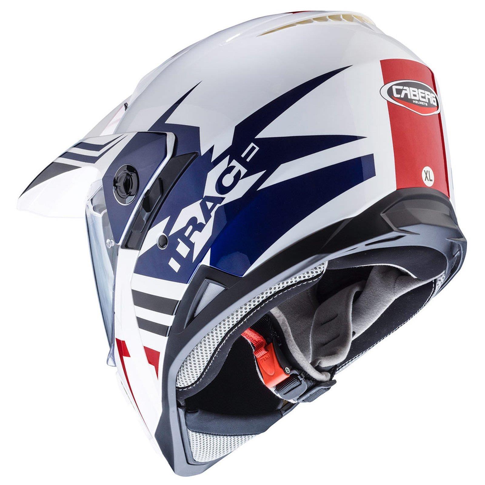 Caberg-Xtrace-Lux-Weiss-Rot-Blau-MX-Helm-Motocross-Enduro-Pinlock-Schild-Visier