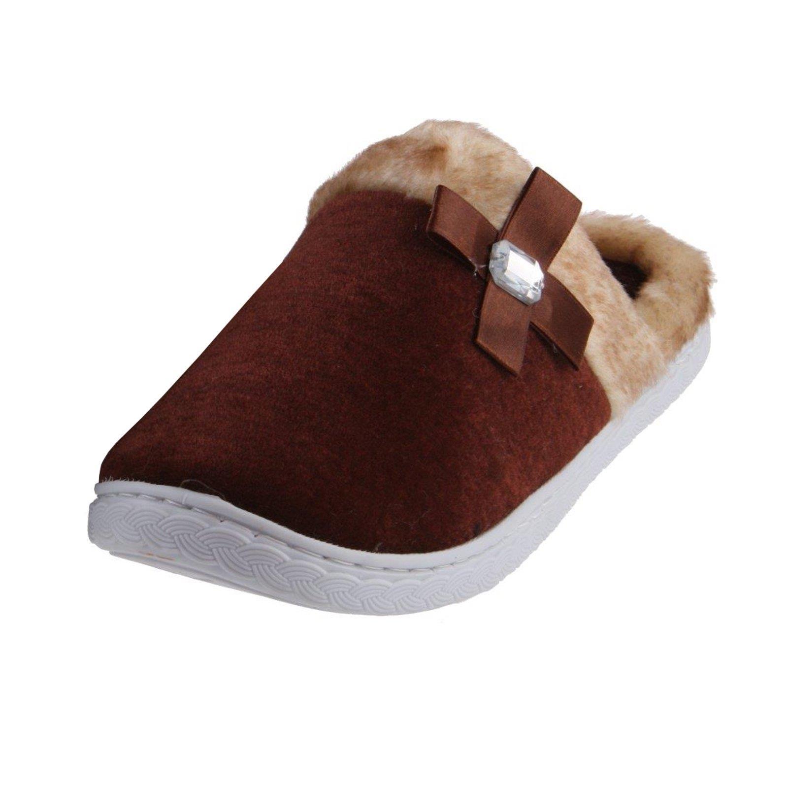 tierhausschuhe damen pantoffeln fellrand mit schleife. Black Bedroom Furniture Sets. Home Design Ideas