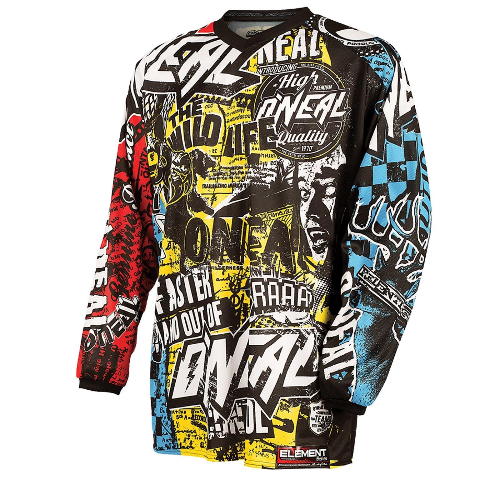 O-039-Neal-Element-MX-Jersey-Shirt-WILD-Moto-Cross-Mountainbike-Enduro-MTB-Downhill miniatura 3