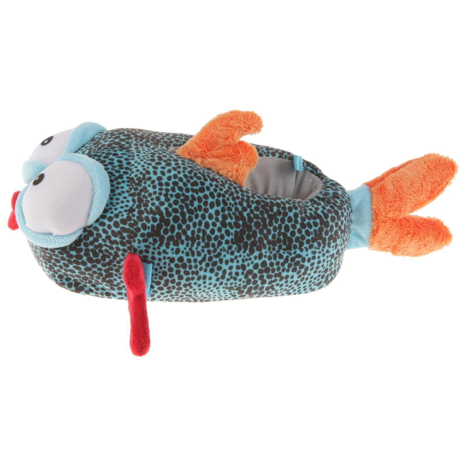 Fisch Tier Hausschuhe Pantoffel Schlappen Kuscheltier Plüsch Kinder Blau 29-35