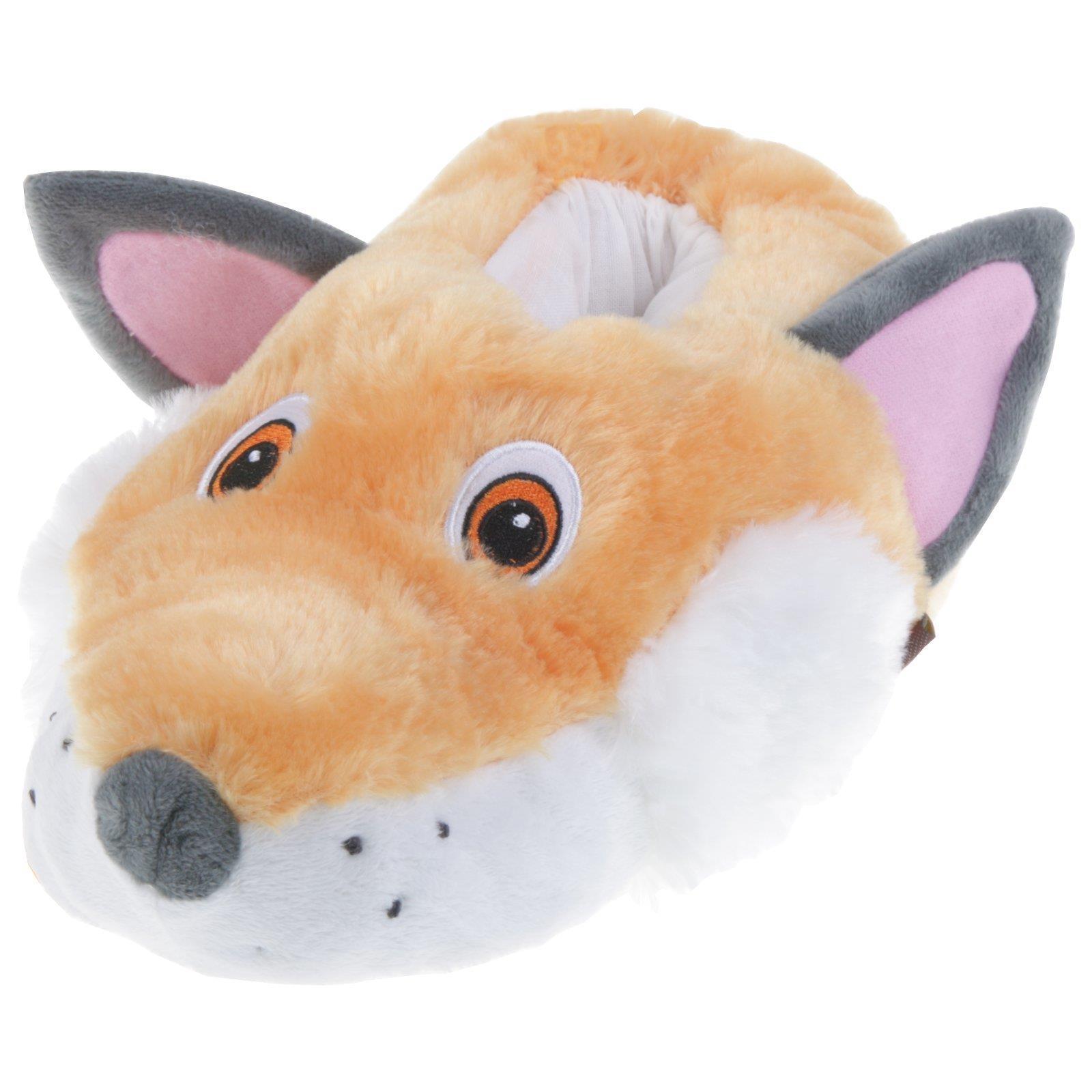 Fuchs Tier Hausschuhe Pantoffel Schlappen Kuscheltier Plüsch Kinder Grau 29-35