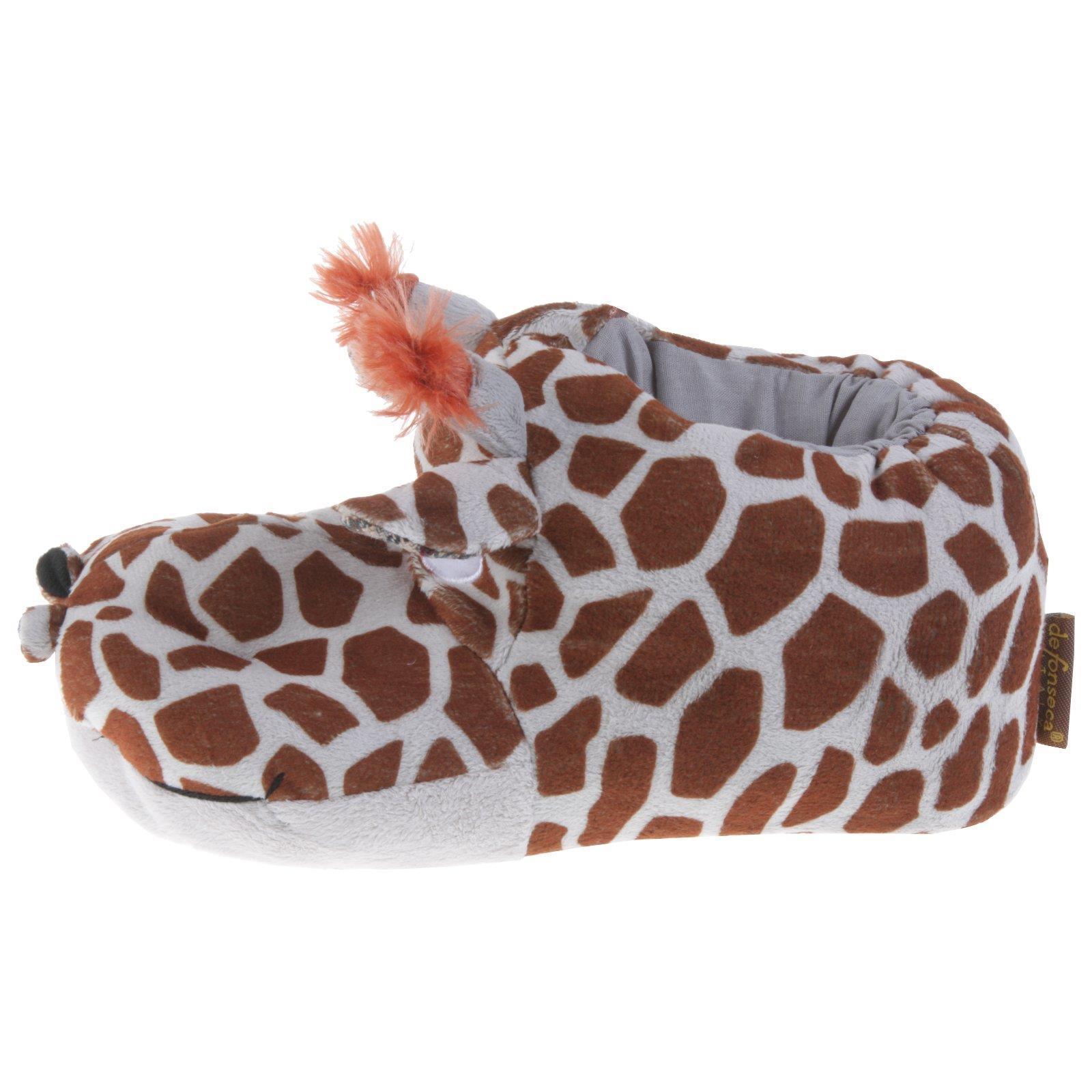 Tierhausschuhe Pantoffel Schlappen Kuscheltier Plüsch Giraffe Elch Pinguin Wolf