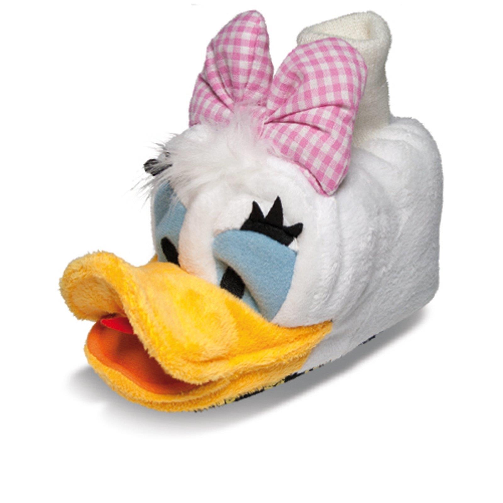 DISNEY Daisy Duck Tier Hausschuhe Pantoffel Schlappen Plüsch Mädchen Weiß 22-28