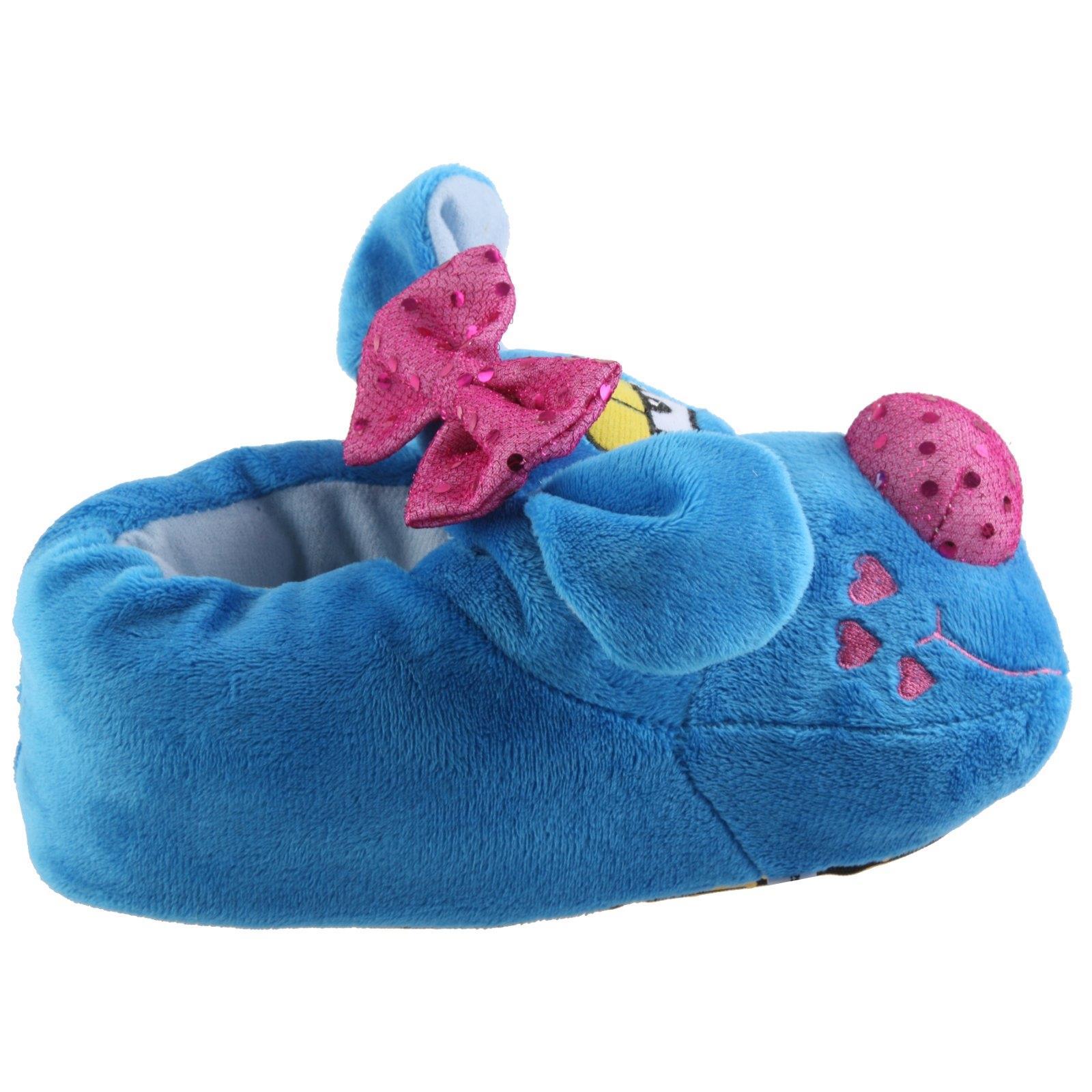 Details zu Hund mit Schleifchen Tier Hausschuhe Pantoffel Schlappen Mädchen Blau 27 41