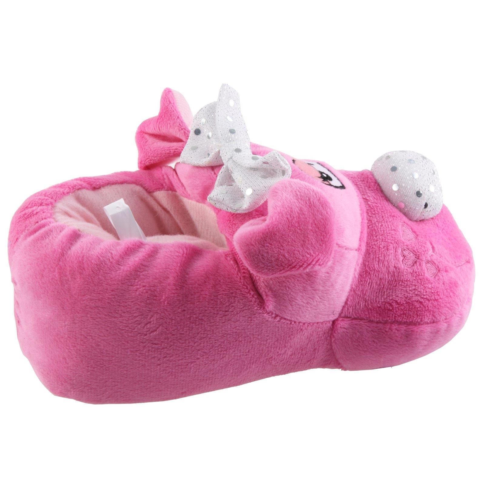 Details zu Hund mit Schleifchen Tier Hausschuhe Pantoffel Schlappen Mädchen Pink 27 41